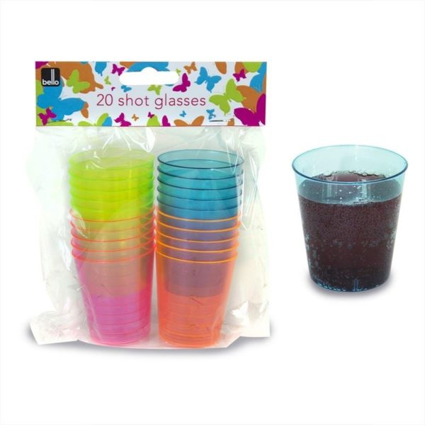 Shot Shots Glass Disposable Party Multi Coloured Tableware Neon