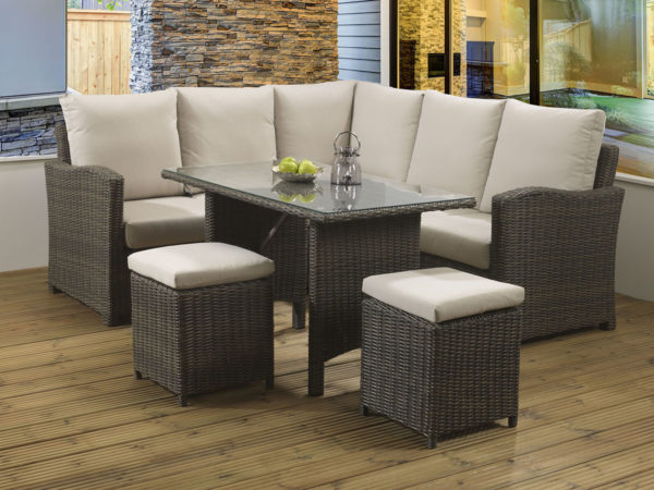 Long Island Brown casual dining lounge set with a glass table top and Malvern fabric