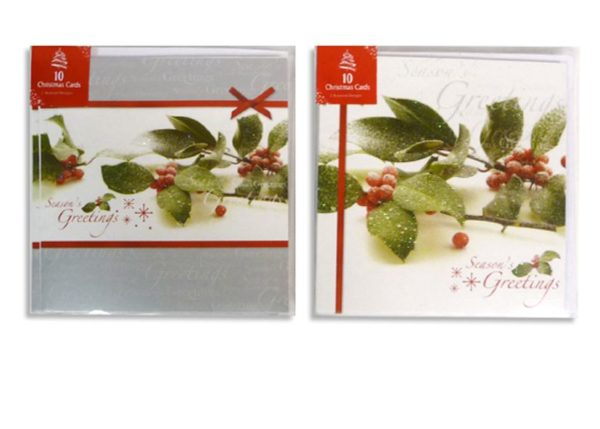 Pack of 10 Christmas Cards inc. Envelopes 2 Classic Designs 'Season's Greetings'