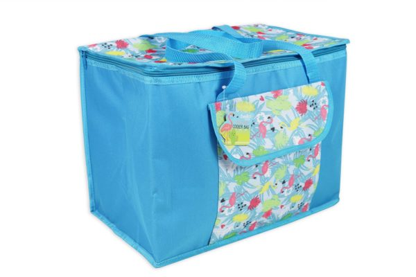 Large Cooler Lunch Bag Insulated Picnic Bag with Strap Blue Flamingo Summer