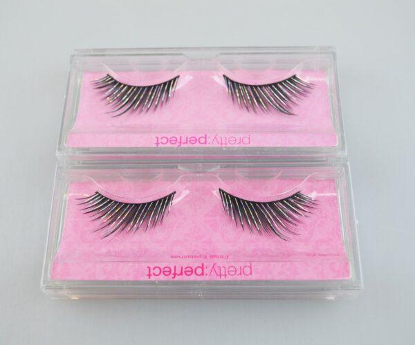 False Eyelash Set Silver Shimmer Black Pack of 4 Beauty Long Lasting Make Up