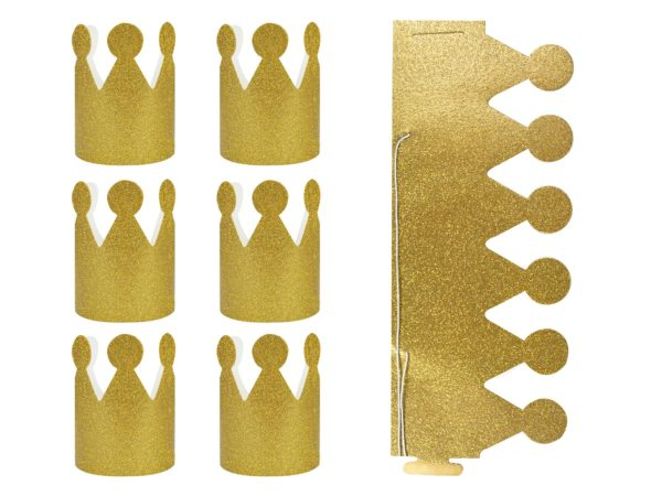 2 X PARTY CROWN GOLD GLITTER X 6