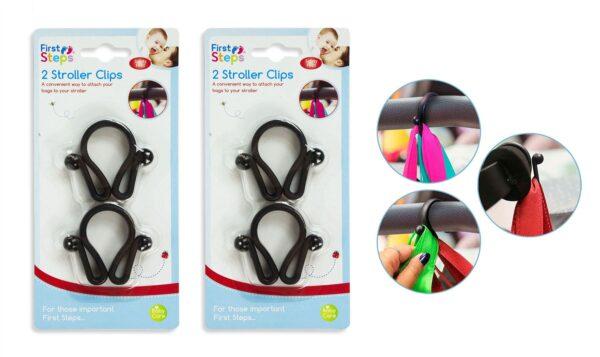 Pack of 4 Buggy Stroller Clip Hook Bag Holder