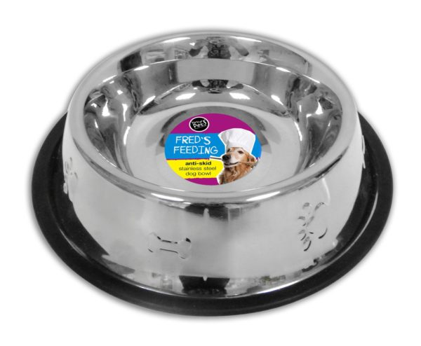 Stainless Steel Dog Feeding Water Bowl 32oz Anti-Skid by World Of Pets