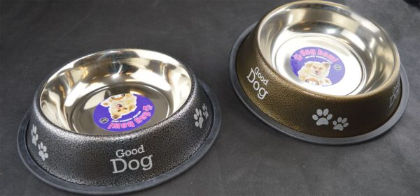 Dog Bowl Anti Skid Antique Food Water Dog Print Paw Print 1.4L