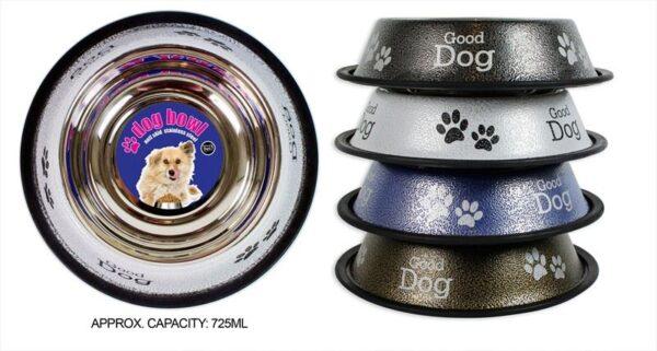 Dog Bowl Anti Skid Antique Food Water Dog Print Paw Print 725ml