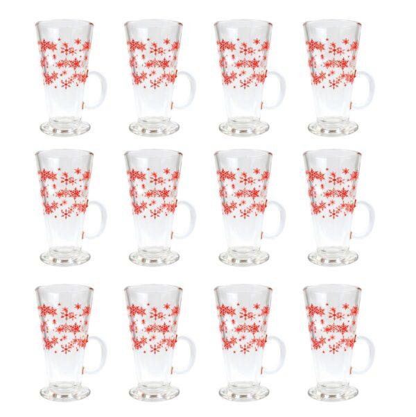PACK OF 12 CHRISTMAS LATTE GLASSES
