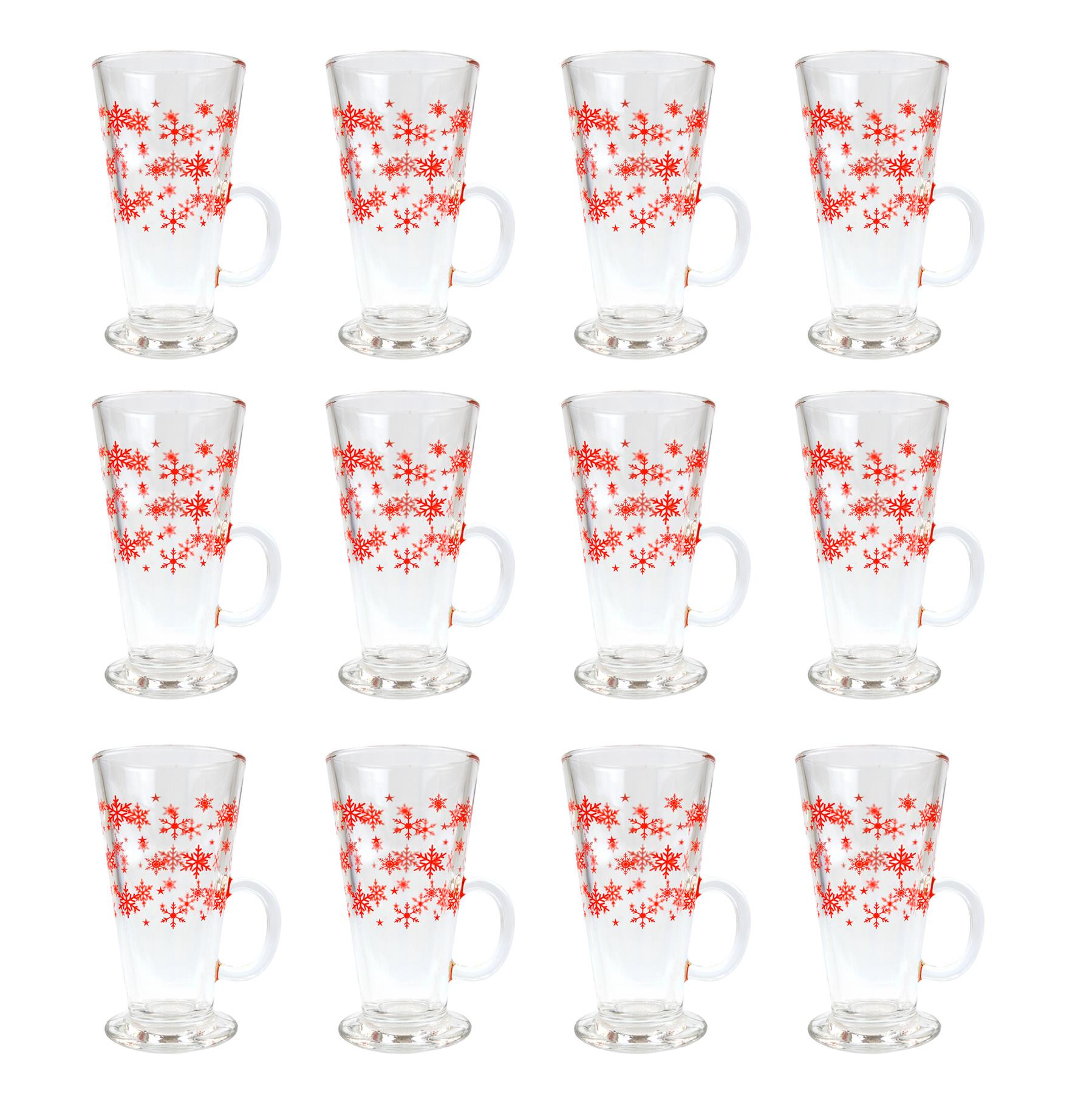 PACK OF 12 CHRISTMAS LATTE GLASSES