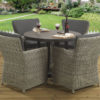 4 seat Tuscany Slate Dining set with Hilton Grey dining chairs and Dallas fabric