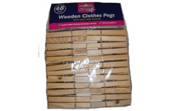 48 WOODEN CLOTHES PEGS