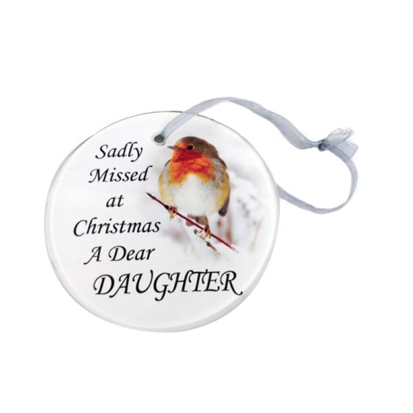 Daughter Glass Memorial Tree Hanger 9cm CHRISTMAS