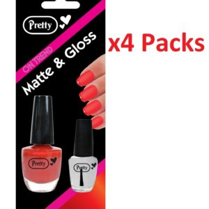 Nail Polish Varnish Matte & Gloss 9ml Matte 4.5ml Clear Red Pack Of 4