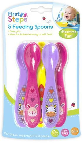 First Steps Jungle Pals Pack of 5 Feeding Spoons Easy Grip BPA Free 6months +