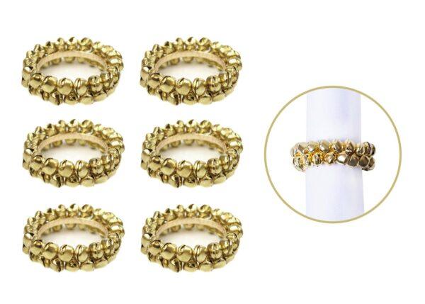 6X GOLD JINGLE BELLS NAPKIN RING
