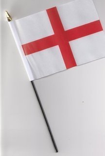 6 England Hand Held Flags