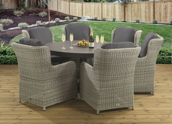 6 seat Amalfi Slate dining set with Clinton Grey dining chairs and Dallas fabric