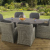 6 seat Florence Slate dining set with Clinton Grey Dining chairs and Dallas fabric