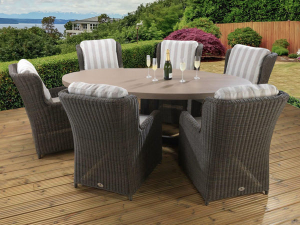 6 seat Florence Tan dining with Capri / Asha fabric combination