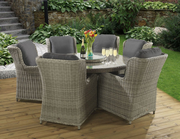 6 seat Richmond Grey dining set with Dallas fabric