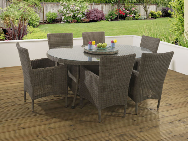 6 seat Manhattan Mink Dining Table with Malvern fabric