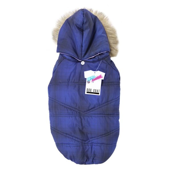 PADDED DOG COAT WITH FUR HOOD BLUE 45-50 CM