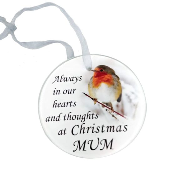 Mum Glass Memorial Tree Hanger 9cm CHRISTMAS