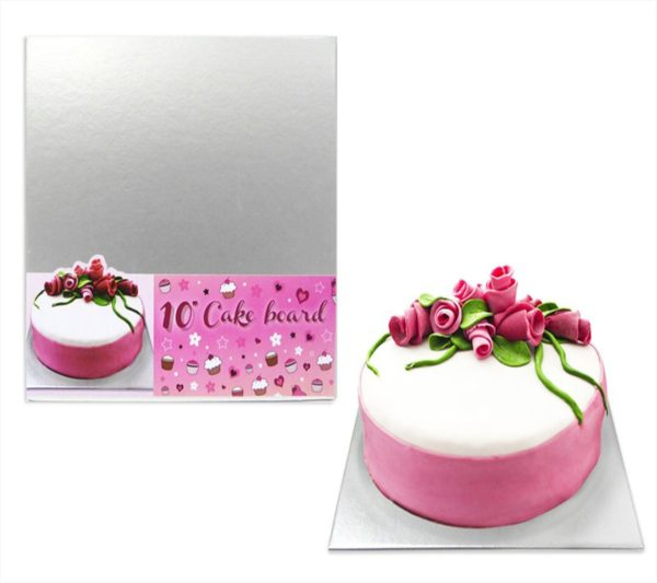 10' Professional Square Silver Cake Board Great For Birthday Parties 3mm Thick