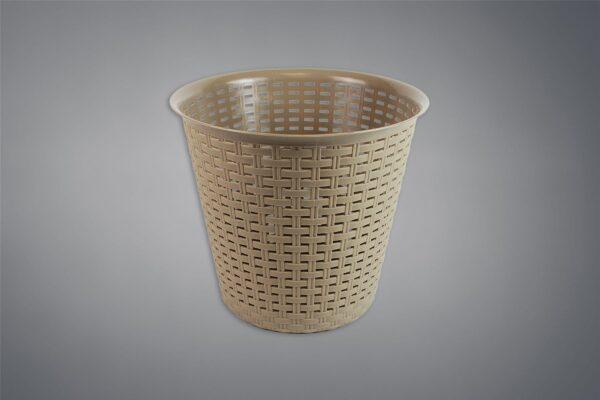 Rattan Waste Paper Basket Bin Home Office Kitchen Dustbin Plastic - Beige