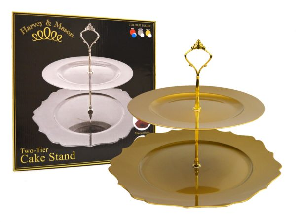 2 TIER SHAPED CAKE STAND GOLD