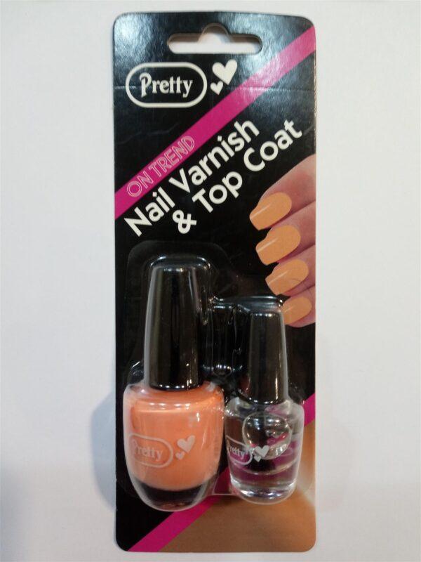 Pretty Nail Varnish & Top Coat - Coral - 2 Bottles 9ml / 4.5ml Professional
