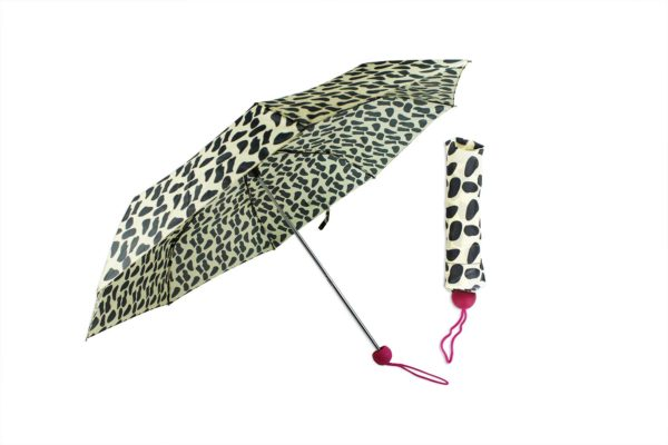 Umbrella Animal Print Ladies Compact Fold Waterproof Ball Handle Matching Sleeve