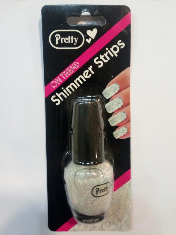 Pretty Shimmer Strips Nail Varnish Top Coat - White 15ml Bottle Professional