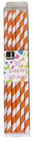 Pack of 30 Orange Striped Paper Straws for Party Summer Outdoor Events