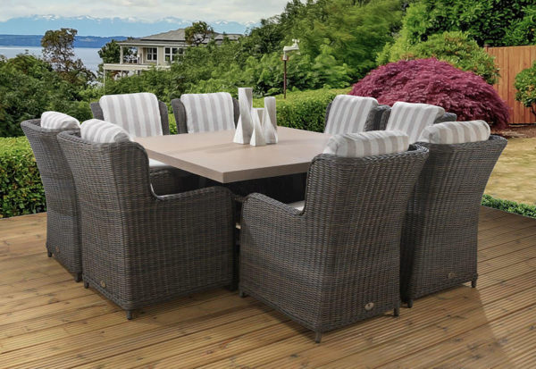 8 seat Venice Tan dining set with Capri / Asha fabric combination