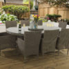 8 seat Manahattan Mink dining table with Malvern fabric