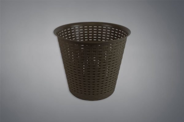 Rattan Waste Paper Basket Bin Home Office Kitchen Dustbin Plastic - Brown