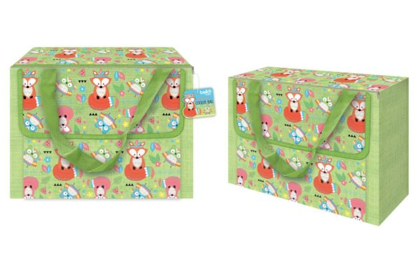 Large Cooler Lunch Bag Insulated Picnic Bag with Strap Green Fox Owl Summer
