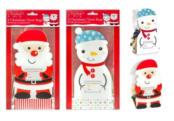 Christmas Treat Bags Set of 6 Xmas Gift Bag Santa Snowman Xmas Decorations Gifts