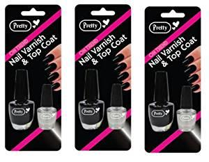 Pretty Black Nail Varnish and Top Coat Set | 3 x Varnish 9ml + Top Coat 4.5ml