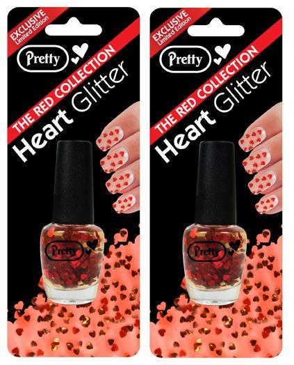Pretty Nail Varnish Heart Glitter Professional | 15ml Red Heart Glitter - 2 Pack