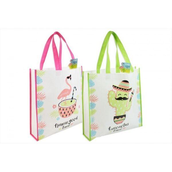 Shopping Tote Bag Set of 2 | Flamingo & Cactus