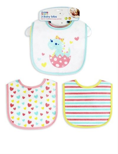 Pack of 3 Baby Girl Dinosaur Cotton Bibs