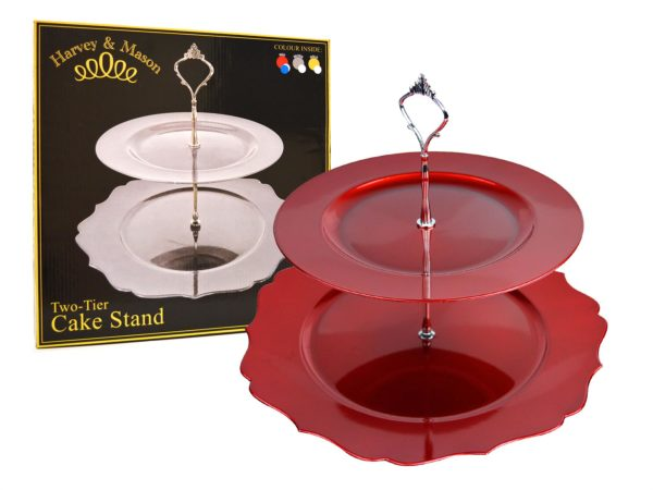 2 TIER SHAPED CAKE STAND RED