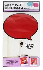 Dry Erase Selfie Board Wipe Clean Speech Bubble Photo Prop Red