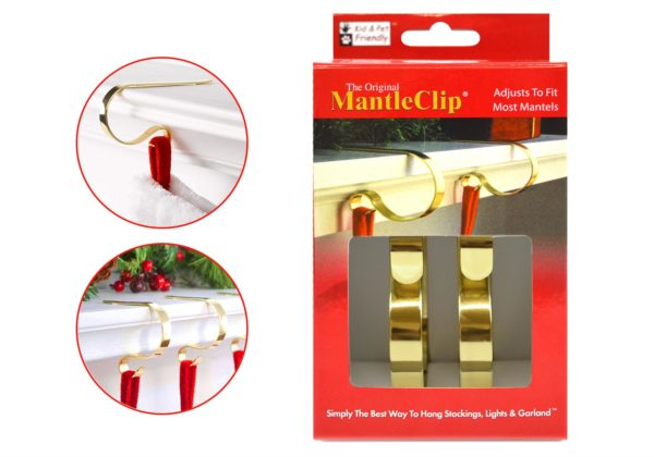 MANTEL CLIPS BRASS SHINY