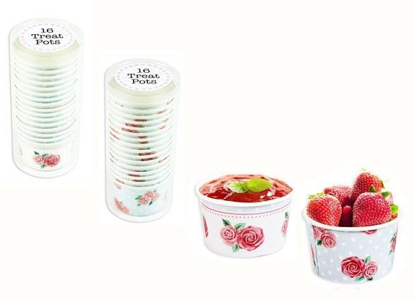 32 x Paper Ice Cream Tubs Sweet Treat Pots Summer Party Cake Lunch - White Spots