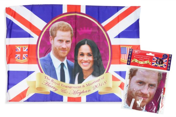 Royal Wedding Commemorative Flag with String Prince Harry Meghan Markle Rayon