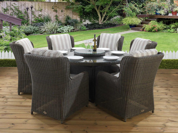 6 seat Amalfi Tan dining set with Malvern fabric