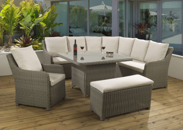 Atlanta Mink Casual dining set with a glass table top and Malvern fabric