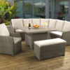 Atlanta Mink Casual dining set with a Tan Lavastone table top and Malvern fabric